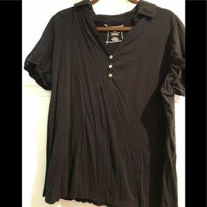 Lane Bryant Women's blk button collar tee shirt